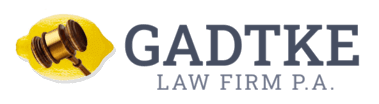 The Gadtke Law Firm P.A. logo with the lemon and gavel icon